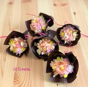 ミニミニブーケ 花束 5個セット《イエローオレンジ系》プリザーブドフラワー