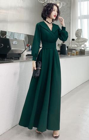 グリーン ロングドレス マット パーティードレス TM0056