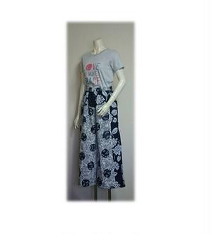 74 履くと可愛い浴衣パッチワークワイドパンツ(団扇×紫陽花)