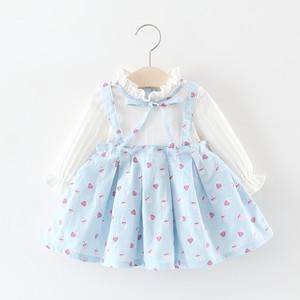 【ワンピース】韓国風リボン小柄フリル長袖子供服ワンピース26818251