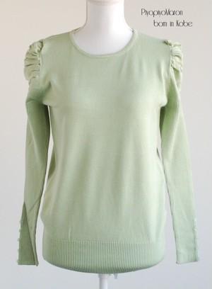 パフ袖セーター ペパーミントグリーン