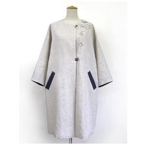 麻 ノーカラーロングジャケット【ミセス・モトコ】