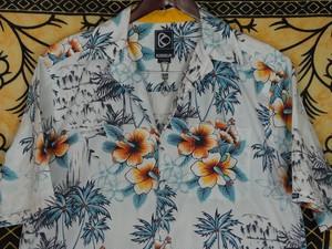 USA古着アロハシャツS白×水色KIRRA波ヤシの木花柄COTTON極美品
