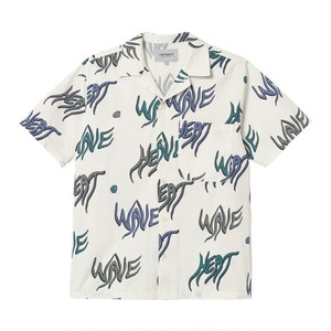 【Carhartt WIP】 S/S HEAT WAVE SHIRT - Heat Wave Print, Wax カーハート 半袖シャツ 柄シャツ