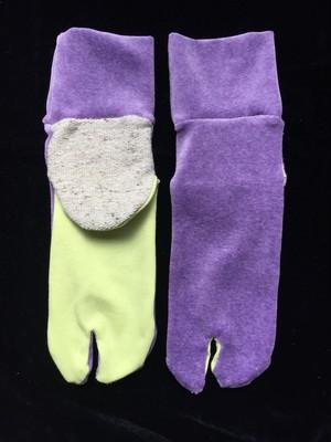 足袋靴下 紫ベロア・蛍光黄
