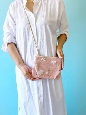 ダブル花柄 クロワッサン ミニ サコッシュ 本革 花柄ローズ ピンク & チュール 刺繍 ボタニカル スマホポーチ