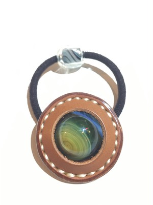 """glass × leather 髪留め accessory """"space"""""""