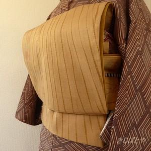 正絹袋帯 ベージュによろけ縞の洒落袋