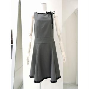 Gray Low Waist Wool Dress グレー ローウエスト ウール ワンピース KQBU1217