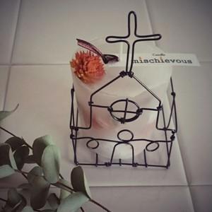 教会型キャンドルホルダー&ボタニカルキャンドル(千日紅):コラボ限定品