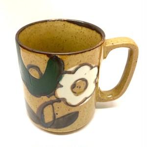 緑と白の花マグカップ(SA284)