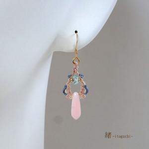 【ピンクオパール】絹糸のマクラメピアス