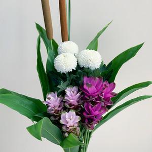 夏の贈り花 クルクマとピンポンマムの花束(1束)
