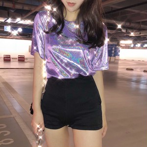 9050レディーストップス ダンス衣装 ダンスウェア 半袖Tシャツ ブリンブリン キラキラ ゆるT  発光 ゆったり スパンコール