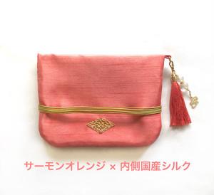 タロットポーチ(サーモンオレンジ×国産シルク)