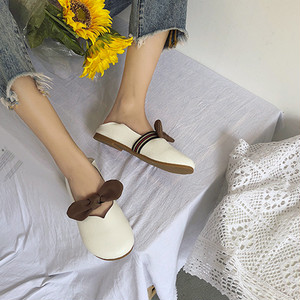 【flat-shoes】2018 new PU Korean ribbon  sweet simple flat-shoes