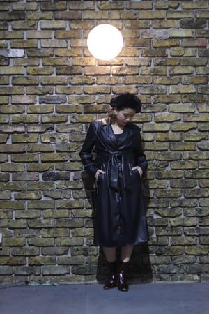 JAKKE ジャッキー Bridgette Faux Leather Tie Front Coat black