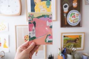 2021年 オリジナル手帳 ピンクの街柄