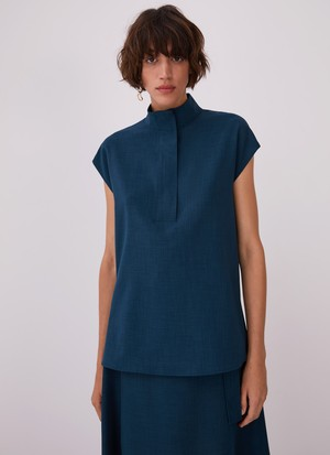 HIGH COLLAR BLOUSE WITH FLAP