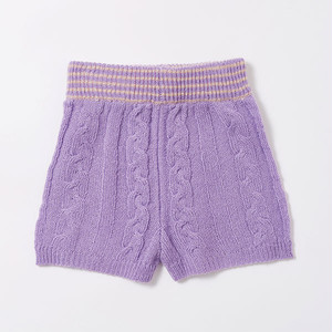 ボーダー模様編みニットパンツ