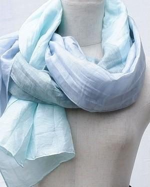 郡内織物「富士桜工房」リネン×シルク通気性に優れたストール「さらつや」ミントブルー