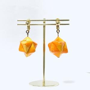 イヤリング【折り紙】十二面体(10) 黄色 × 山吹色 × オレンジ