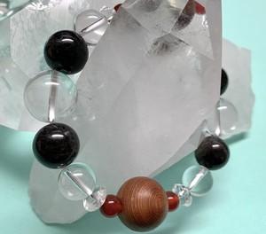 伊勢神宮杉とモリオン(黒水晶)のブレスレット(手首サイズ:15cm )