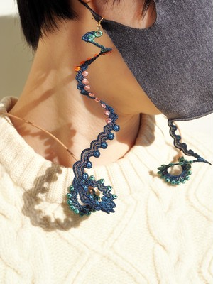 ARRO / Embroidery mask strap / WHORLS / NAVY