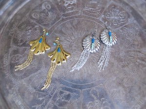 vintage pierced earrings 2way shell <PE-SH2way/sv/gld>