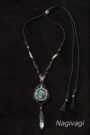 Black labradorite & Crystal silverwire micromacrame necklace