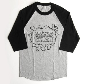 Cycle Trash 21th anniversary baseball Tee - Heather/Black Fart-1/c by Burrito Breath