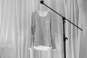 ASKYY /SIDE BUTTON  LAYERED KNIT / GRY
