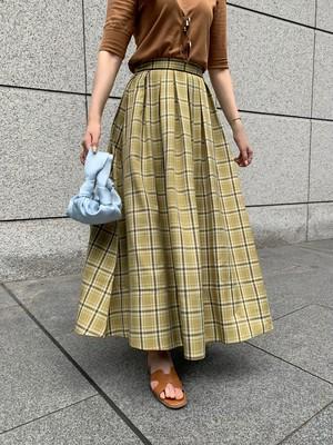 【予約】tuck flare skirt / mustard check (10月中旬発送予定)