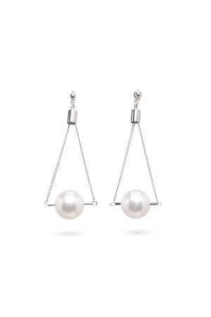 Pipe Pearl Earrings | SILVER