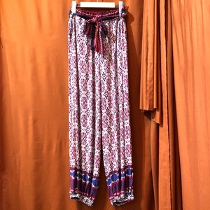 Ethnic Print Easy Pants    Color : White/Red