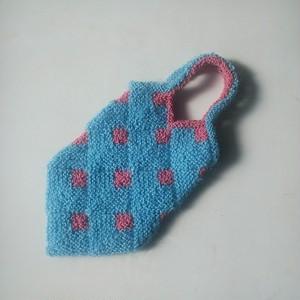 水色ピンク色手編みバッグ