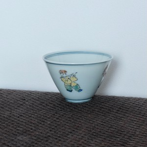 粉彩唐子文 煎茶碗