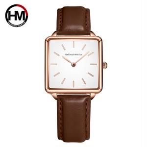 本革ストラップ日本クォーツムーブメントHM-108女性シンプルなデザインのトップの高級ブランド腕時計レディーススクエア腕時計108PZ1