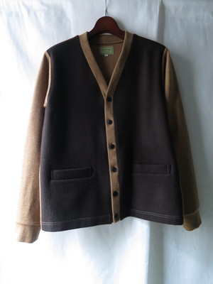 Bi-color Wool Knit Cardigan