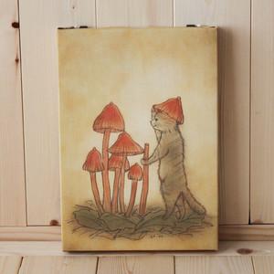 B5サイズ(小)複製画●猫とネコの絵本シリーズ●ネコの帽子