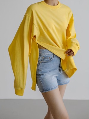 Cut-out Side Snap Shirt【Yellow】