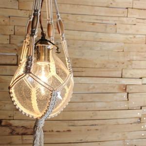 バブルガラス&マクラメハンギングランプ