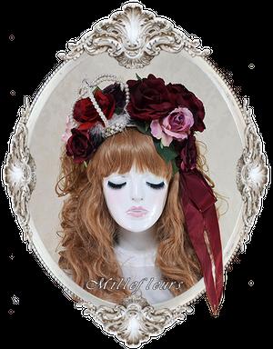 薔薇とパールクラウンのヘッドドレス