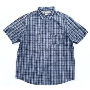 USED Columbia seersucker check shirts - navy,blue
