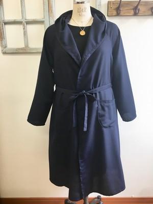 秋物大人ジャケット❤️さらりとしたコットン生地のフードロングジャケット ネイビー(サイズフリー L〜L L)