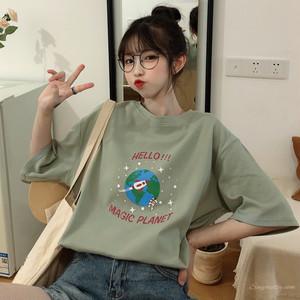 【トップス】スウィートレトロ学園風森ガール清新アルファベットラウンドネック半袖Tシャツ