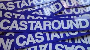 CASTAROUND BASE LOGO STICKER 横長 BLU