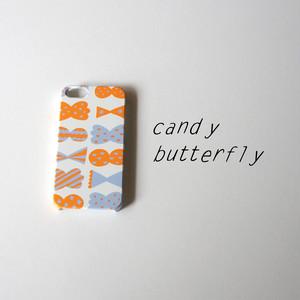 【iPhone / Android 各機種専用タイプ】側表面印刷*ハード型*スマホケース「candy butterfly ( orange × smoky blue )  」● 受注生産