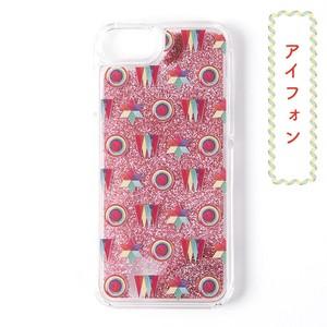 和柄レトロiPhoneグリッターケース/キラキラと和柄のコラボレーション!「虹色もよう」ピンク