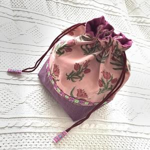 お弁当箱サイズ の かわいい 花柄 手作り 巾着 3柄